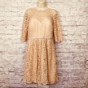 Jenny Yoo Light Blush Lace 3/4 Sleeve Dress
